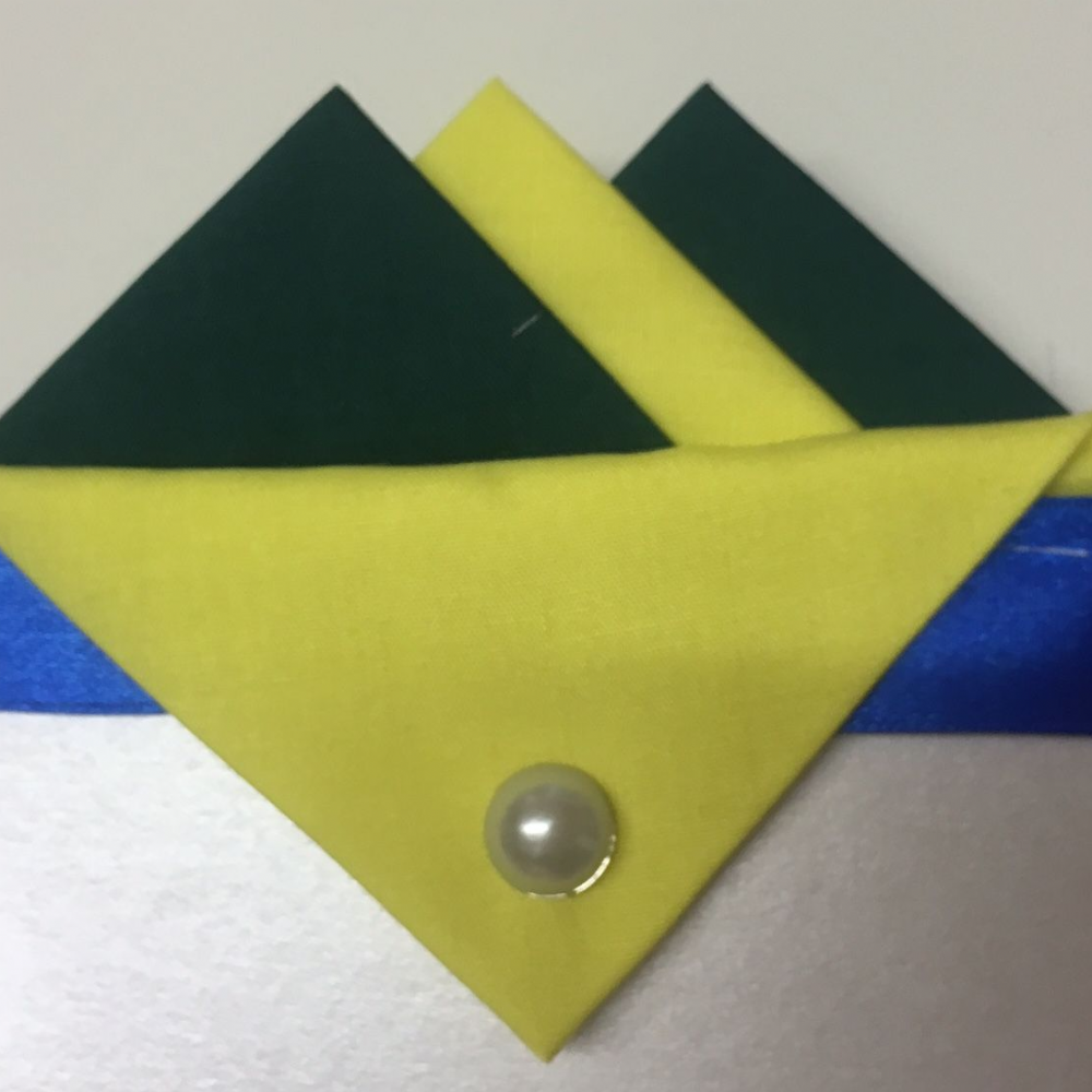 Green and Yellow Hankie With Yellow Flap and Pin